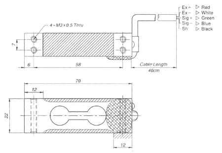 Размеры тензодатчика CAS BCL-3кг